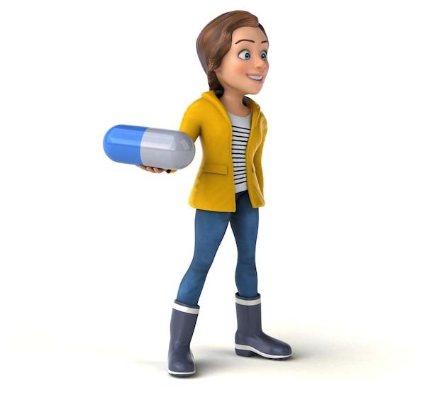 Renderização 3d divertida de uma adolescente de desenho animado