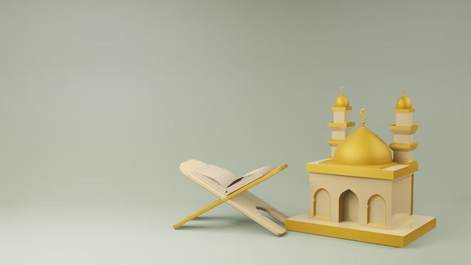 Renderização 3d do alcorão e da mesquita