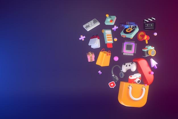 Renderização 3d do aplicativo de compras.