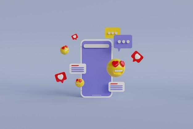 Renderização 3d do aplicativo de mídia social
