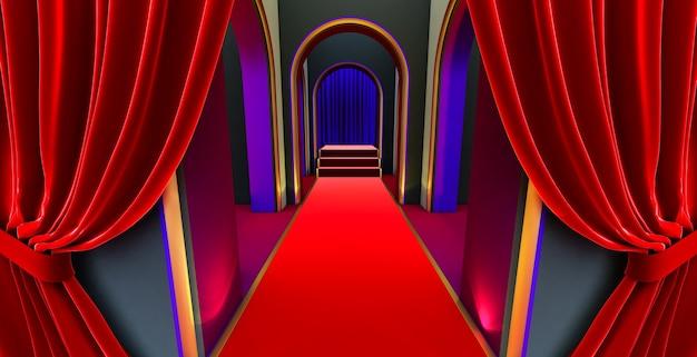 Renderização 3d do arco da passarela, corredor preto, longo túnel com arcos e tapete vermelho com cortina vermelha