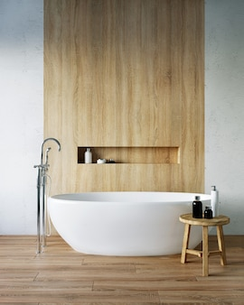 Renderização 3d do banheiro. banheira branca em um interior claro.