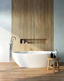 Renderização 3d do banheiro com o sol. banheira branca em um interior claro.