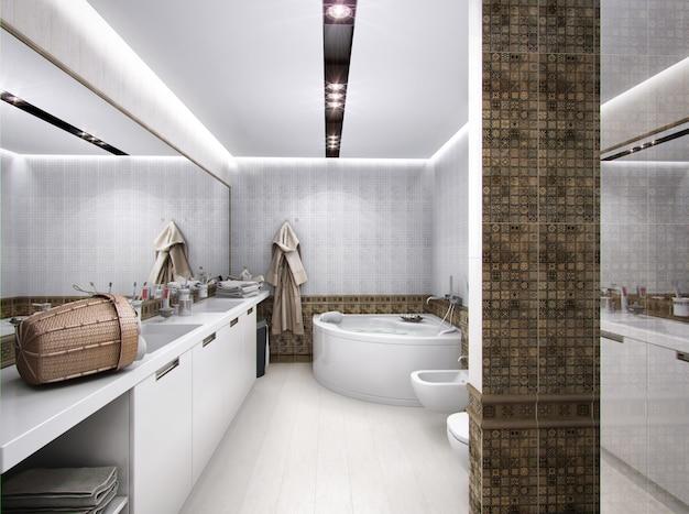 Renderização 3d do banheiro em estilo antigo
