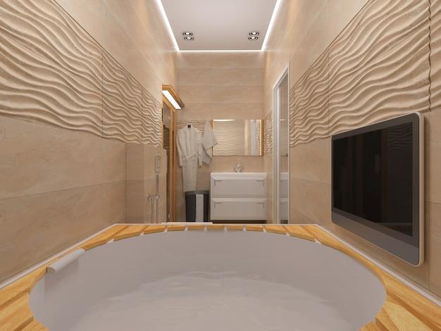 Renderização 3d do banheiro em tons de bege