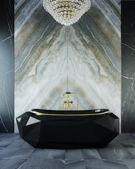 Renderização 3d do banheiro. luxuosa banheira preta em um banheiro caro.