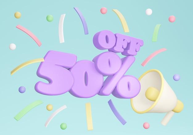 Renderização 3d do banner de desconto de 50 por cento com confete de megafone no fundo. renderização 3d. ilustração 3d.