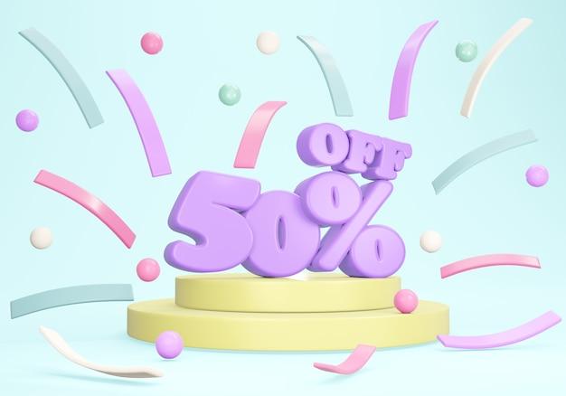 Renderização 3d do banner de desconto de 50 por cento em confete do pódio no fundo. renderização 3d. ilustração 3d.