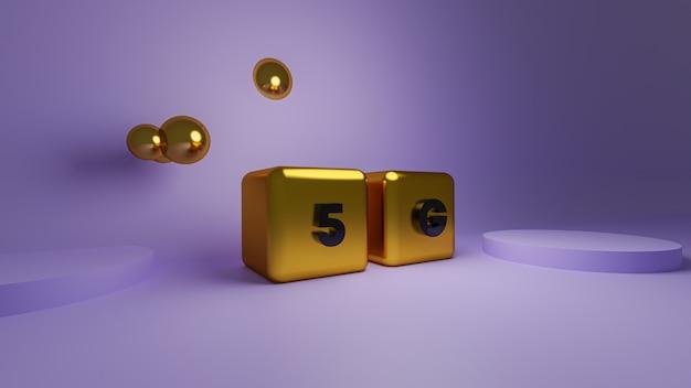 Renderização 3d do bloco dourado brilhante 5g cube gold cube