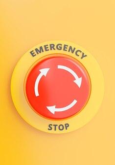Renderização 3d do botão de emergência, close-up