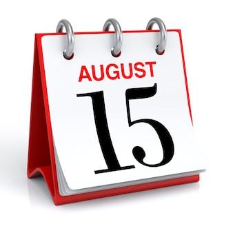 Renderização 3d do calendário de agosto