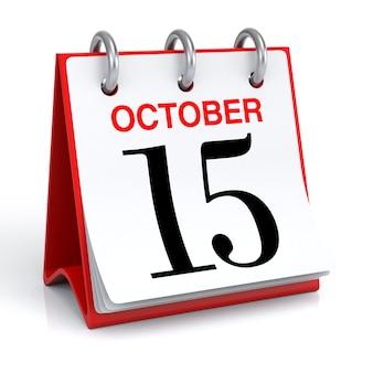 Renderização 3d do calendário de outubro