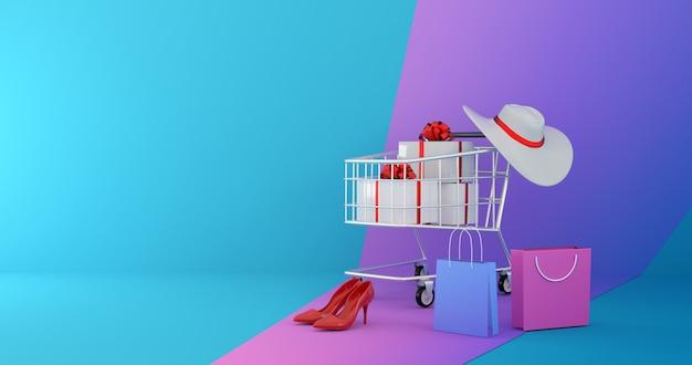 Renderização 3d do carrinho de compras com sacolas, presentes e roupas