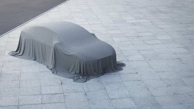 Renderização 3d do carro novo coberto com pano