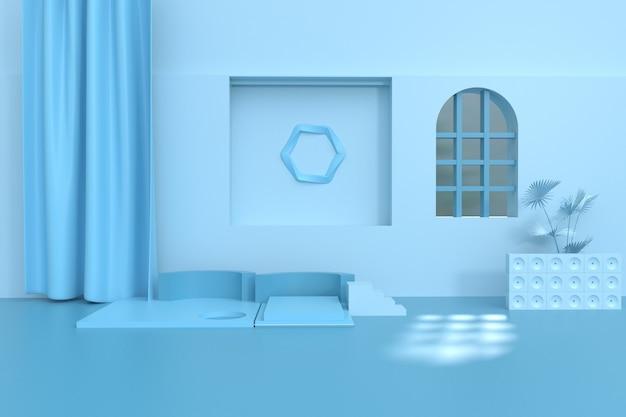 Renderização 3d do cenário geométrico abstrato para exibição simulada