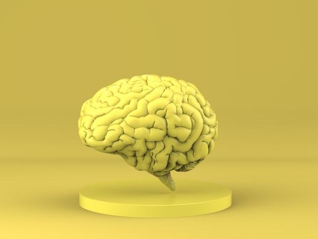 Renderização 3d do cérebro humano amarelo em fundo amarelo