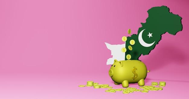 Renderização 3d do cofrinho como crescimento econômico positivo no paquistão