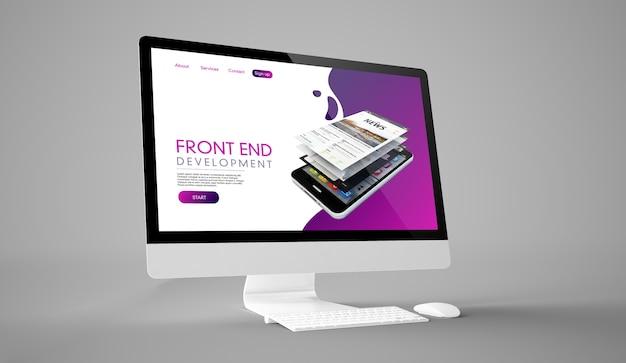 Renderização 3d do computador da tela do website front end