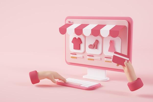 Renderização 3d do conceito de compras online
