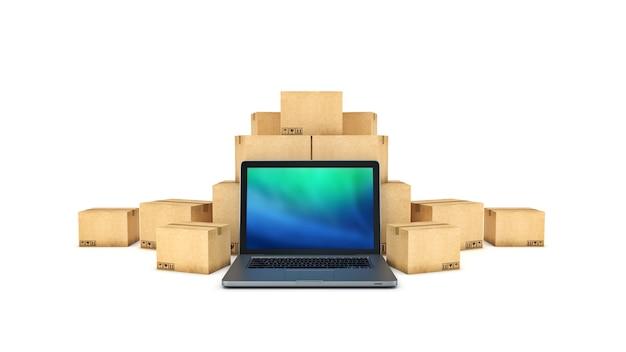 Renderização 3d do conceito de frete e logística