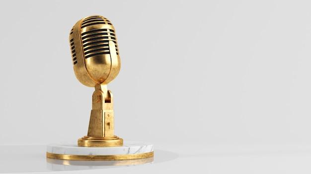 Renderização 3d do conceito de podcast de microfone dourado