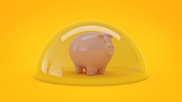 Renderização 3d do conceito de proteção de poupança