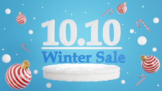 Renderização 3d do conceito de venda de inverno 10.10 para exibição de produtos
