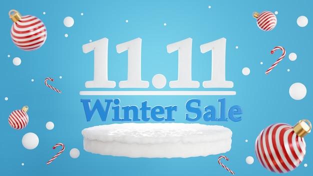 Renderização 3d do conceito de venda de inverno 11,11 para exibição de produtos