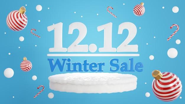 Renderização 3d do conceito de venda de inverno 12,12 para exibição de produtos