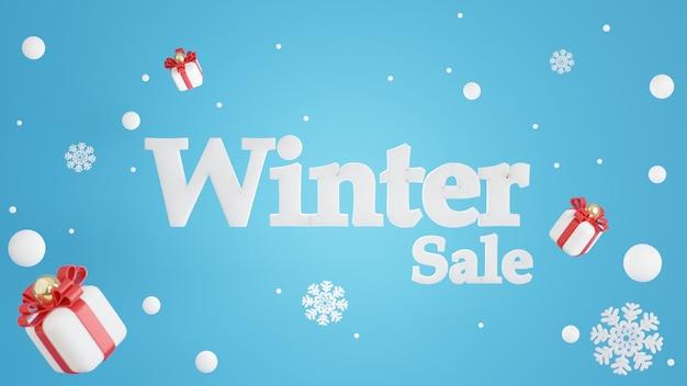 Renderização 3d do conceito de venda de inverno para exibição de produtos