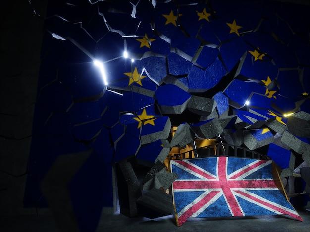 Renderização 3d do conceito de votação do referendo do brexit no reino unido