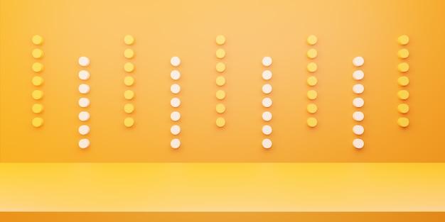 Renderização 3d do conceito mínimo abstrato amarelo laranja