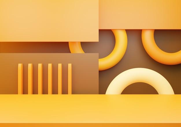 Renderização 3d do conceito mínimo abstrato laranja marrom