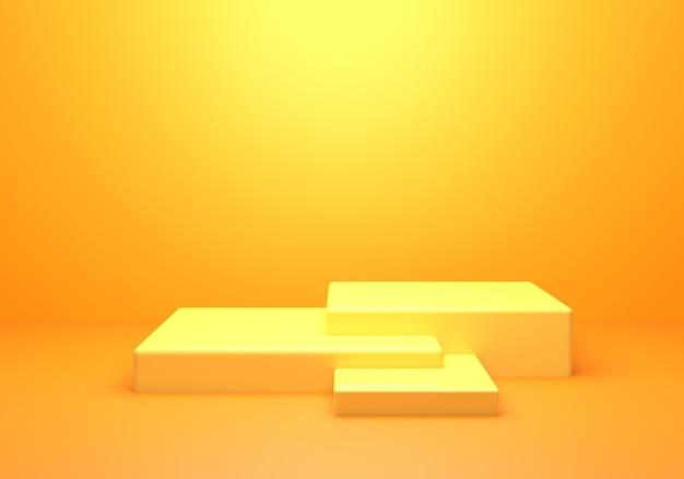 Renderização 3d do conceito mínimo abstrato vazio amarelo laranja