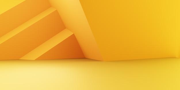 Renderização 3d do conceito mínimo geométrico abstrato amarelo laranja vazio