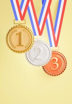 Renderização 3d do conjunto medalha de bronze de prata dourada, prêmios de campeão