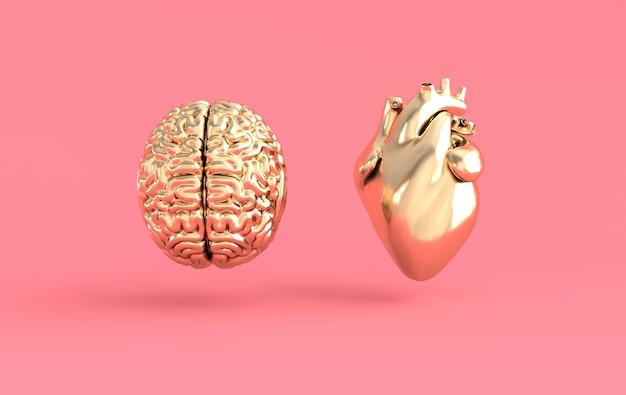 Renderização 3d do coração e do cérebro