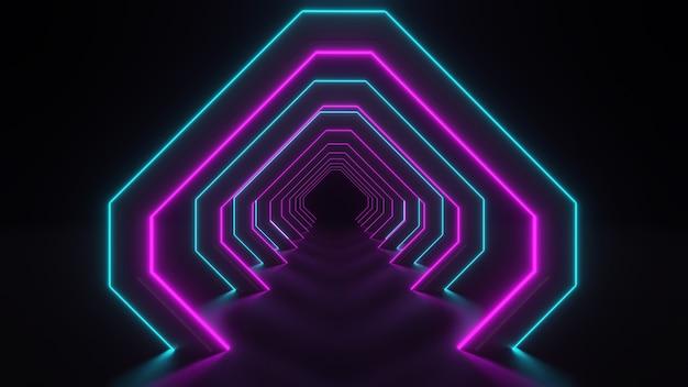 Renderização 3d do corredor com luzes de néon