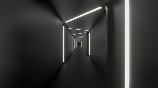 Renderização 3d do corredor finion fundo abstrato preto branco