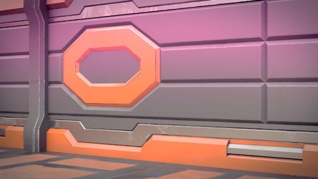 Renderização 3d do corredor realista da nave espacial de ficção científica