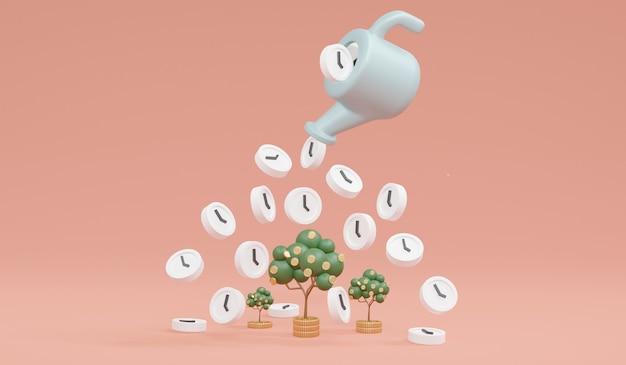 Renderização 3d do crescimento da árvore do dinheiro por tempo do conceito de pote de irrigação de investimento de dinheiro crescente