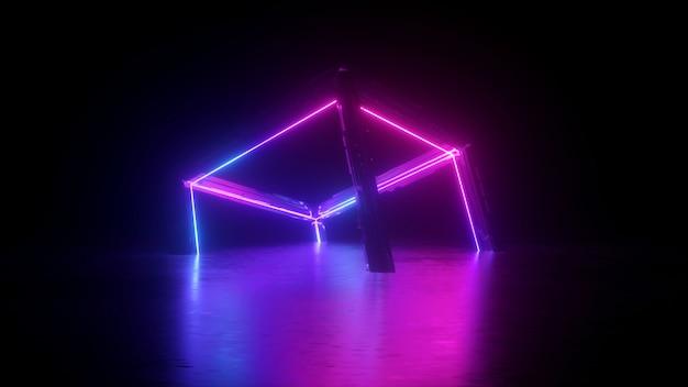 Renderização 3d do cubo abstrato de néon sobre o preto