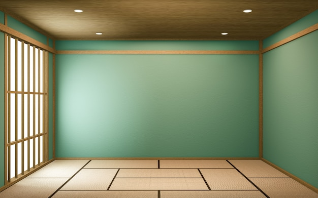 Renderização 3d do design da sala do japão