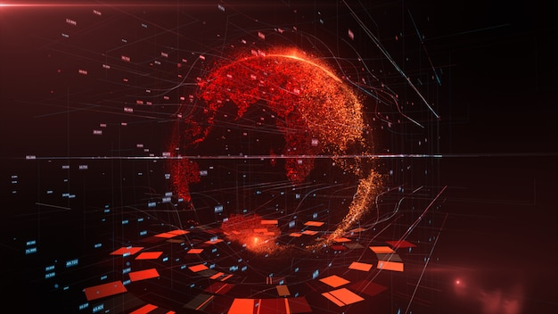 Renderização 3d do detalhado planeta virtual terra