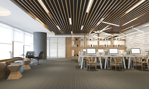 Renderização 3d do escritório de negócios moderno de luxo