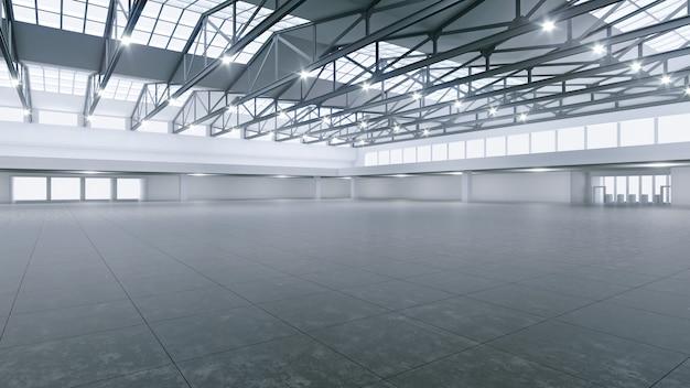 Renderização 3d do espaço de exposição vazio