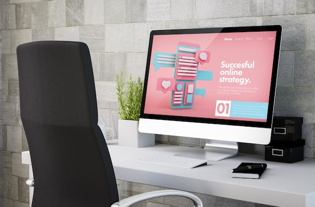 Renderização 3d do espaço de trabalho industrial, mostrando o site de marketing online na tela do computador. todos os gráficos da tela são compostos.