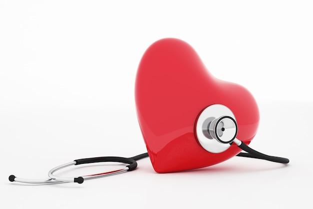 Renderização 3d do estetoscópio e coração vermelho