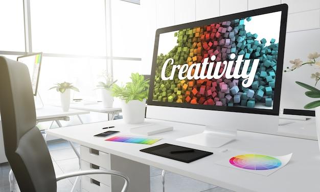 Renderização 3d do estúdio de criatividade