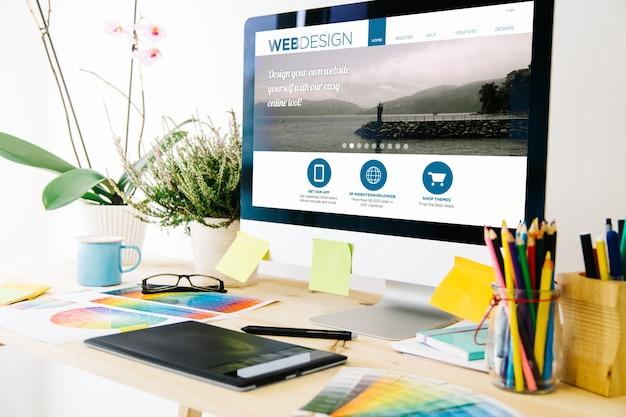 Renderização 3d do estúdio de design web